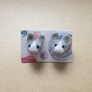 豆點動物耳環 – 灰兔