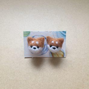 豆點動物耳環 – 柴犬