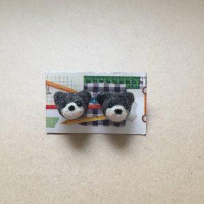 豆點動物耳環 – 灰熊