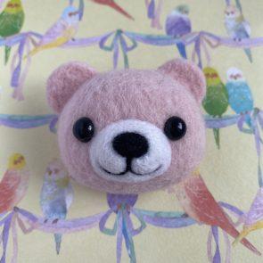 動物頭心口針 – 彩色熊仔(粉紅)