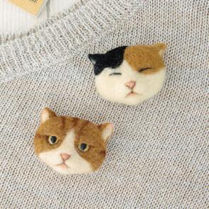 三色貓與虎紋肥貓心口針材料包