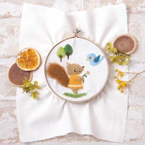 松鼠與小鳥羊毛氈刺繡材料包