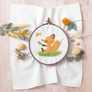 狐狸與蝴蝶羊毛氈刺繡材料包